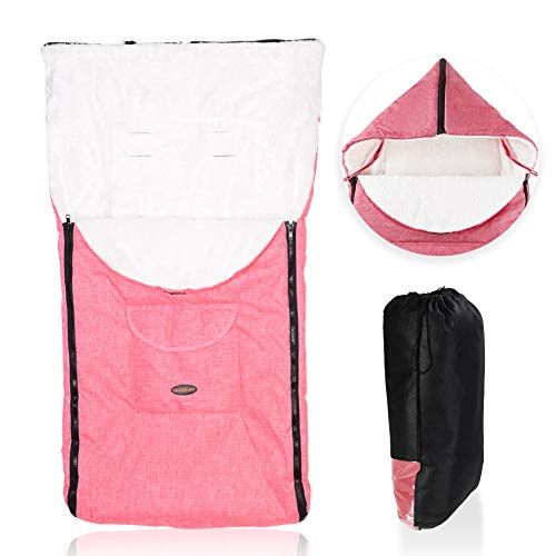 Fengzio Babyfußsack Universal Fußsack für Kinderwagen, Sportwagen, Buggy und Babyschale Winter-Fußsack mit Tasche Wasserdicht Winddicht Komfortable Winterfußsack