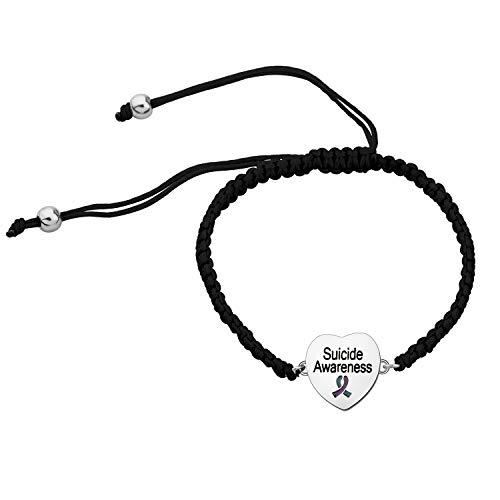CHOORO Suicide Awareness Jewelry Suicide Awareness Teal & Purple Ribbon Bracelet Suicide Aware Gift