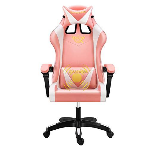 Silla de masaje para juegos de piel sintética con respaldo alto, para PC, Racing, ordenador, oficina, giratoria, respaldo, ajustable, color rosa, Material:, color, C