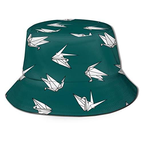 Yoliveya Sombrero de Pesca,Vector Patrones Sin Fisuras Origami Papel Pájaros,Senderismo para Hombres y Mujeres al Aire Libre Sombrero de Cubo Sombrero para el Sol