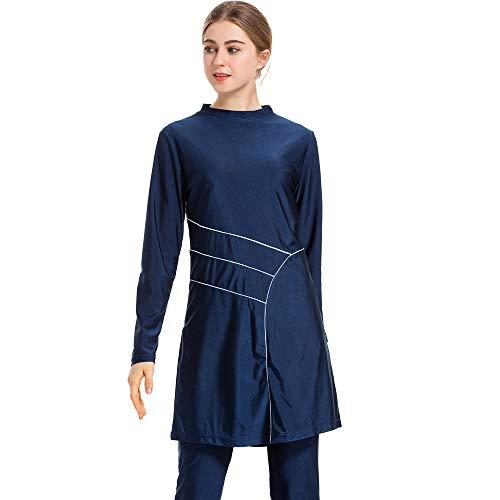 CaptainSwim Neue Muslimische Badebekleidung für Frauen Mädchen Vollständige Abdeckung Burkini Badeanzug Set Islamischer Hijab Bescheiden Strandkleidung Schwimmen Passen Kostüm (4XL, Blau)