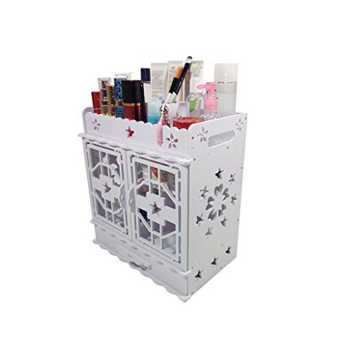 Coffrets de maquillage Boîte De Rangement De Grande Capacité Boîte De Rangement De Tiroir Portable Boîte De Finition De Bureau Européenne 30 * 19 * 32,2 Cm (11,8 * 7,4 * 12,6 Pouces) (Color : Blanc)