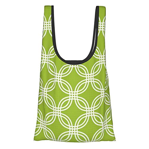 Bolsas de compras reutilizables Círculo verde lima enrejado respetuoso del medio ambiente plegable bolsa de almacenamiento bolsa de almacenamiento lavable