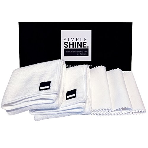Premium Set Shoe Shining Cloths 3 Flannel & 2 Microfiber   Best for Buffing,Cleaning & Polishing Leather