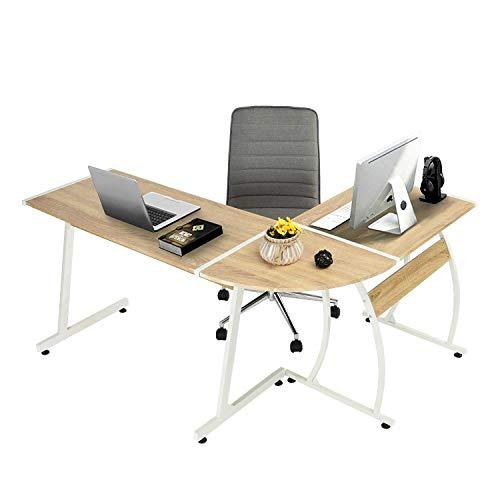 Computer-Desk Office Desk L-Shaped Wood Corner Desk Computer Workstation Large PC Gaming Desk Home-Office Table 148x112x74cm, (OAK)