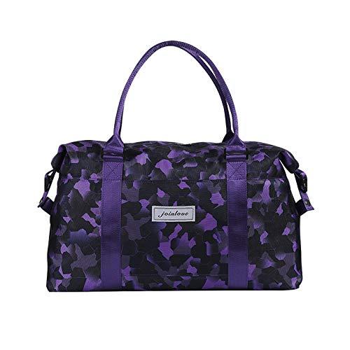 YAOUYYYSN Bolsa de viaje femenina, portátil, ligera, bolsa de almacenamiento de viaje de corta distancia, con gran capacidad de camuflaje, color morado (puede ser geezogar) pequeño