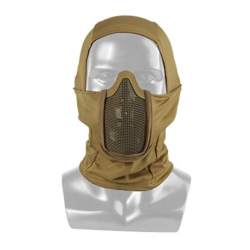 OneTigris Passamontagna Tattico in Tessuto Mimetico, Maschera Completa per Il Viso con Protezione Antipolvere per Caccia, Softair (Khaki)
