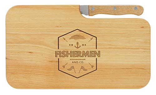 LASERHELD Brotzeitbrett Jausenbrett Holz Erle Messer Fishermen and Co. Geschenk Männer Angler Fischer Schneidbrett Holz Geschenkidee für Ihn
