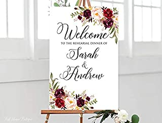 onepicebest Rehearsal Dinner Sign, Marsala Rehearsal Dinner Welcome Sign, Burgundy Flowers, Personalized Wooden Wedding Welcome Sign