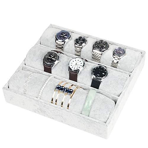 Soporte organizador de joyería, de la marca BOCAR, hecho de terciopelo color gris, ideal como mostrador de collares, pulseras, aretes o anillos