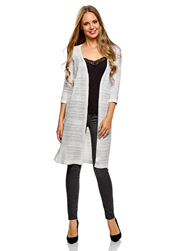 oodji Collection Damen Langer Cardigan mit Ajour-Muster, Weiß, DE 34 / EU 36 / XS