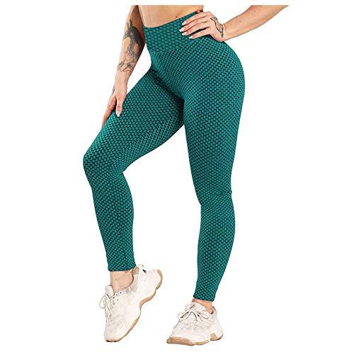JQq Cellulite Leggings Damen Kleider Damen Kleider Fashion Pushup Leggings Damen Stretch Yoga Leggings Fitness Laufen Gym Sport Aktive Hosen(Grün,XXL)