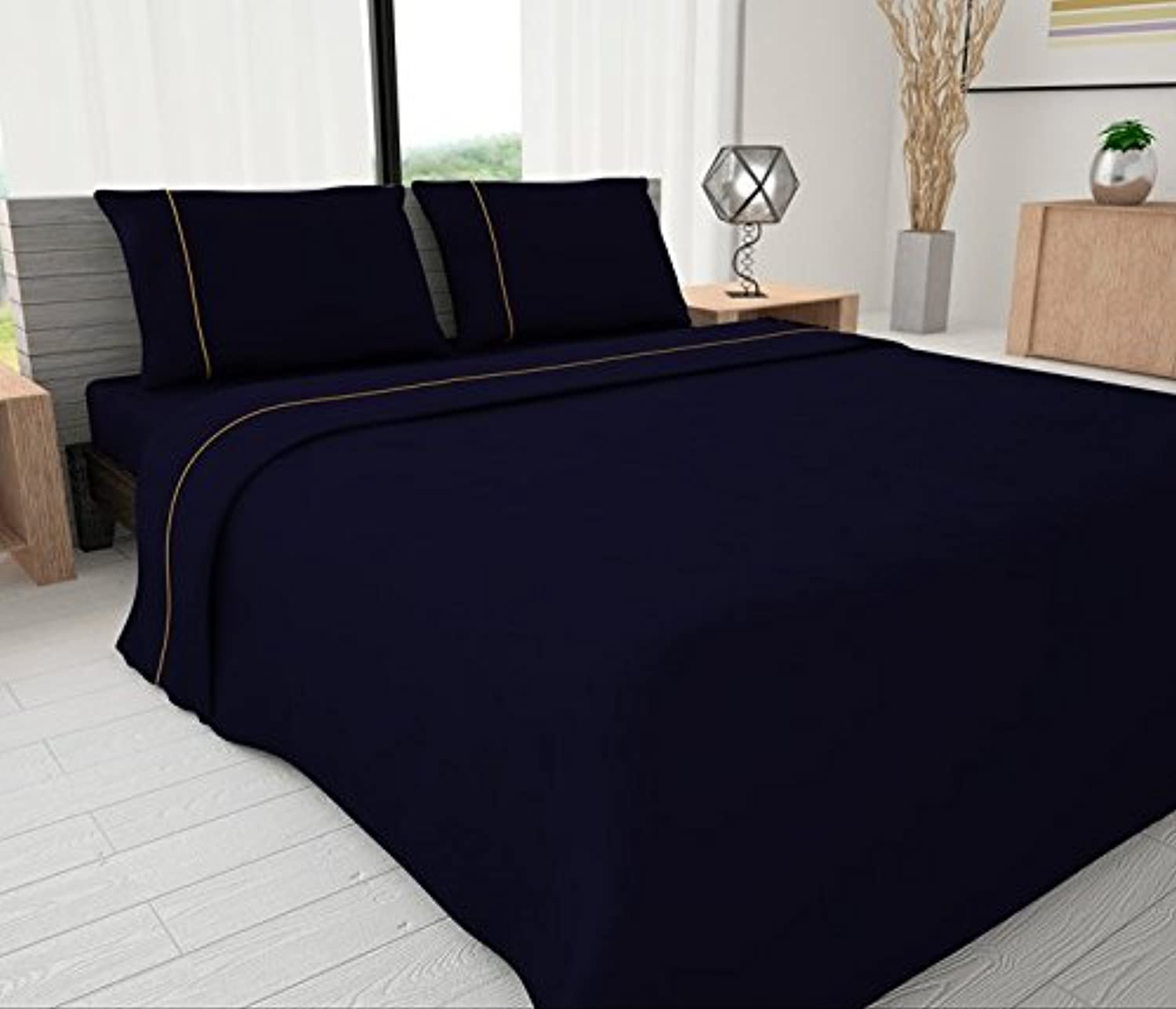 Livingston Home Novelty Bedding 144 Thread Count Egyptian Cotton Blend Solid Sheet with Piping Accents, Full, Oxford bluee