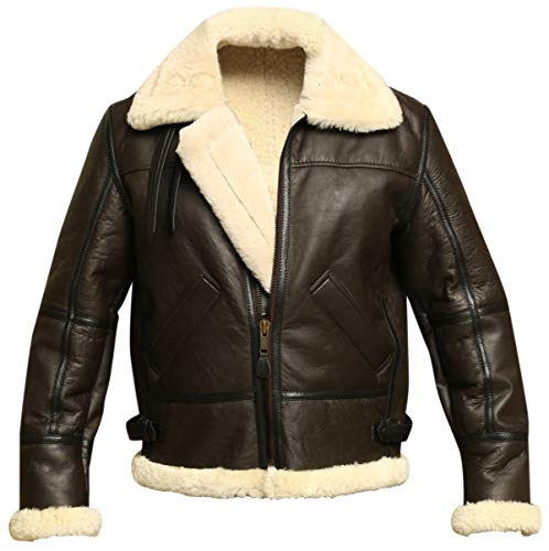 Men B3 Bomber Aviator Shearling Sheepskin Leather Winter Jacket, Brown, Large