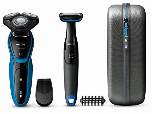 Philips AquaTouch - Afeitadora (Máquina de afeitar de rotación, SH50, 2 año(s), Negro, Azul, LED, Batería)
