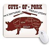 MISCERY マウスパッド ベーコンカット肉肉屋ダイアグラム食品動物その他バーベキューブリスケット肉屋の牛 高級感 おしゃれ 防水 端ステッチ 耐久性が良い 滑らかな表面 滑り止めゴム底 24cmx20cm
