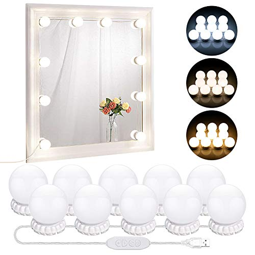 LED Vanity Mirror Lights with 10 Dimmable Bulbs 3 Color Modes, Hollywood...