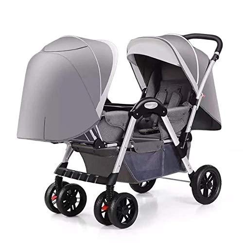 VIVOCC Portátiles Ligeros Doble Cochecito con reclinable Ajustable for recién Nacidos y niños pequeños