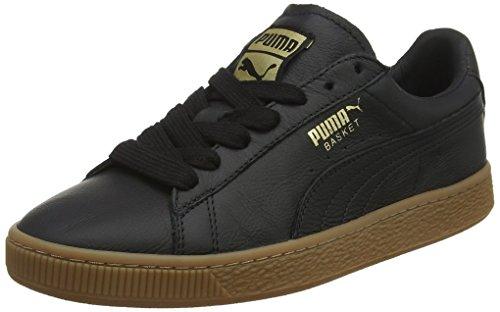 Puma Unisex-Erwachsene Basket Classic Gum Deluxe Sneaker, Schwarz Black-Metallic Gold, 42 EU