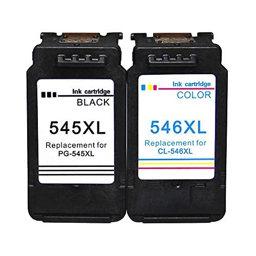 Compatibele Inkt Cartridge Vervanging voor Canon PG-545XL CL-546XL PG-545 CL-546, Past Met Canon PIXMA IP2820 IP2850 MG2420 MG2450 MG2520 MG2550 MG2920 Printer.-1 Zwart + 1 Tri-Col