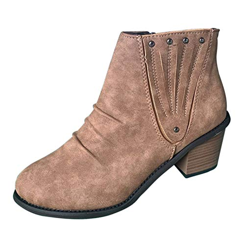 Fullwei Boots for Women,Women Vintage Booties Combat Short Ankle Boot Ladies Casual Western Chunky Low Heels Side Zipper Casual Walking Shoes (Brown, 10)