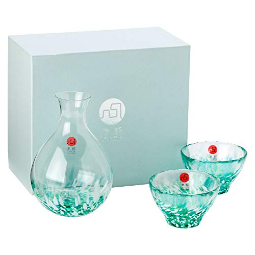 津軽びいどろ酒器セットみずばしょう徳利と盃のセットガラス酒器青森県の工芸品Sake bottle & cups, Aomori craft