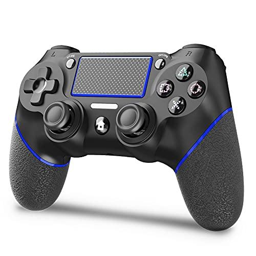 「令和最新」JOYSKY PS4 コントローラー 無線 最新バージョン 600mAh Bluetooth リンク遅延なし ジャイロセンサー機能 イヤホンジャック ゲームパット 搭載 二重振動 高耐久ボタン 日本語取扱説明書 PS3 コントローラー(黒青い)