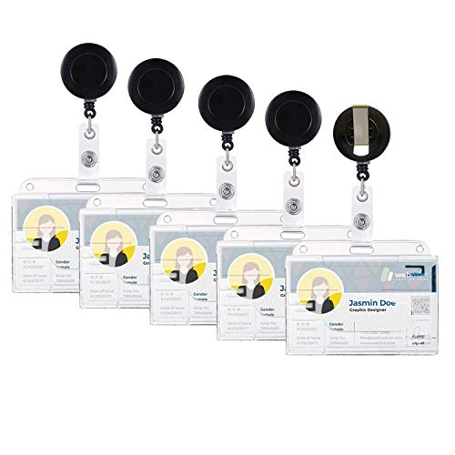 [Juego de 5 piezas] Llave Yo-Yo, tarjeta de identificación Yo-Yo, soporte para tarjeta de identificación, Utilizado para soporte de tarjeta Tarjeta de identificación Tarjeta de acceso Titular del pase