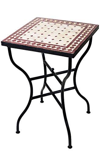 ORIGINAL Marokkanischer Mosaiktisch Bistrotisch 50x50cm Groß eckig klappbar   Eckiger Kleiner Mosaik Gartentisch Mediterran   als Klapptisch für Balkon oder Garten   Marrakesch Natur Bordeaux 50x50cm