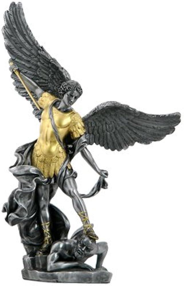 USI, statua in marmo schiacciato e resina, di san michele arcangelo, 38 cm