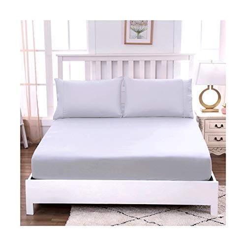 MZP 100% Egyptian Cotton Fitted Sheet 30cm Extra Deep Twin Bed Sheets Only Pure Natural Cotton Sheet Soft Bottom Sheets Single Twin Double full King Queen (Color : Gray, Size : QUEEN)
