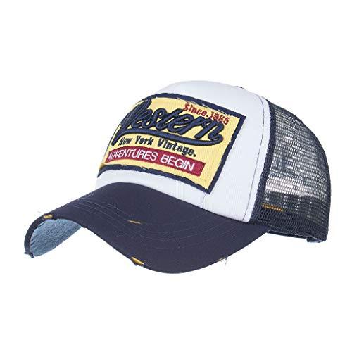 Unisex Baseball Cap FORH Mode Sommer Kappe Mesh Hüte Hip Hop caps Chic Besticken Brief Kappe Sommer Sport Mütze Schirmmütze (Marine)