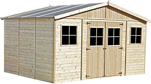 Tool Sheds Wooden Garden shed Timber Boat Garden Workshop Bicycle with Window Outdoor Storage Room,Including Scaffolding