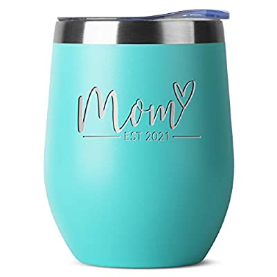 New Mom Gifts Ideas - First Time Mom Est. 2021 - Mom to be 12 oz Mint Stainless Steel Tumbler w/Lid - Mommy w/New Baby Gift - Cute Expecting Mother to be Baby Shower Presents for Her Pregnancy Moms