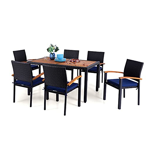 """PHI VILLA 7 Piece Outdoor Dining Set for 6, 60"""" Rectangular Wood Top Metal Dining Table & 6 Cushioned Rattan Chairs for Patio, Deck, Yard"""