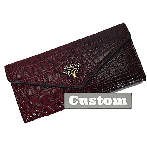 Nombre Personalizado Tarjeta de crédito Delgada para Mujeres Cartera de Cuero Largo Tenedor Delgado Polazo de Cuero para (Color : Red, Size : One Size)