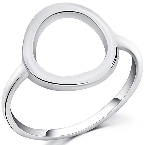 Jude Jewelers Stainless Steel Classical Simple Plain Open Karma Statement Promise Ring (Silver, 9)