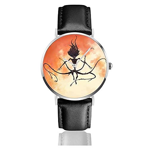 Relojes de Pulsera Moon Presence Silhouette Bloodborne 2 Reloj de Cuarzo con Correa de Cuero de PU para Hombre Mujer colección Regalo Unisex Informal de Negocios
