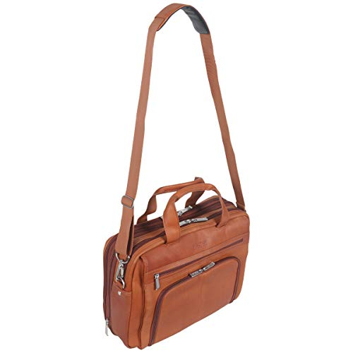 Kenneth Cole Reaction Colombian Leather Dual Compartment Expandable 15.6