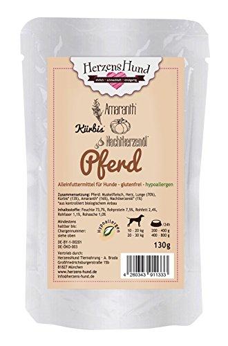 HerzensHund Pferd mit Bio-Kürbis, Bio-Amaranth Bio-Nachtkerzenöl, glutenfrei und hypoallergen, 15 x 130 g