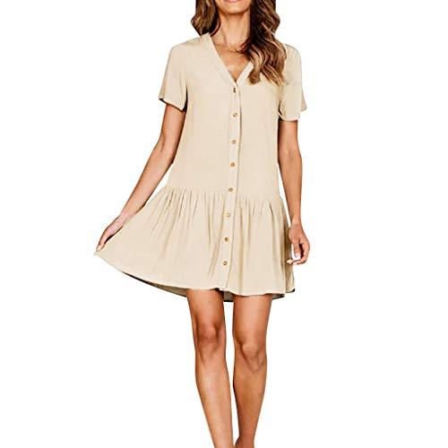 Elegante Kleider Damen Kleid Cocktailkleider Ronamick Frauen v-Neck Solid Kleid Shirt Ärmel Taste Casual und Abend Minikleid(XL, Beige)