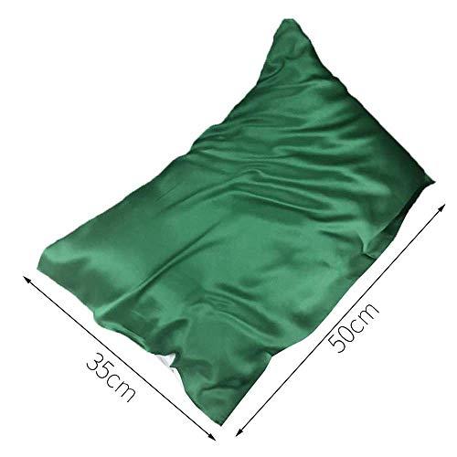 muxiao - Funda de almohada de 1 unidad, 16 Momme, 100% seda, para el pelo y la piel, resistente a las arrugas, 35 x 50 cm, color verde oscuro