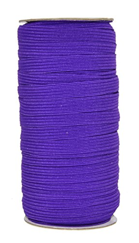Mandala Crafts Flat Elastic Band, Braided Stretch Strap Cord Roll for Sewing and Crafting; 3/8 inch 10mm 50 Yards Purple
