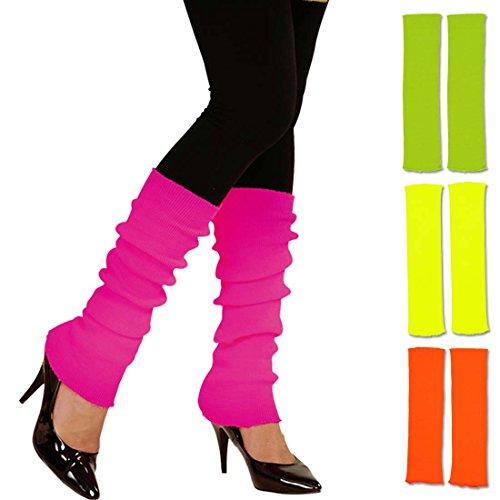 Amakando Beinstulpen neonfarben leuchtende Stulpen 80er pink krelle Legwarmer schrille Aerobic Stutzen Fitness Outfit Accessoire 80er-Outfit Zubehör