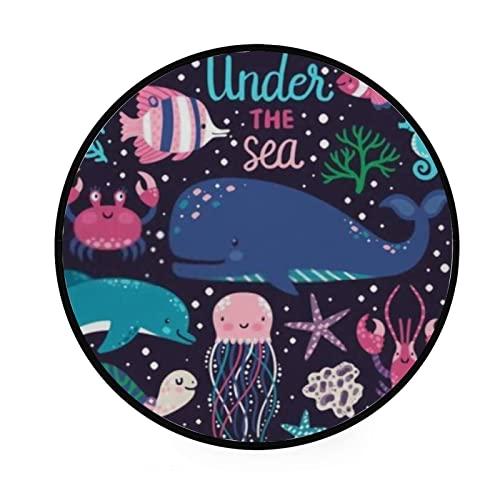 Alfombra redonda para gatear, animales subacuáticos, pulpo, ballena, tortuga, alfombra de piso para sala de estar, lavandería, sala de juegos, 122 cm, lavable