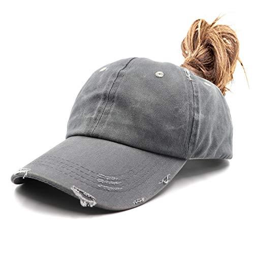 Distressed Ponytail Vintage Cap Cotton Dad Hat Adjustable Plain Cap Low Profile (Unconstructed)Messy High Bun Hat Ponycaps Adjustable Cotton Baseball Cap