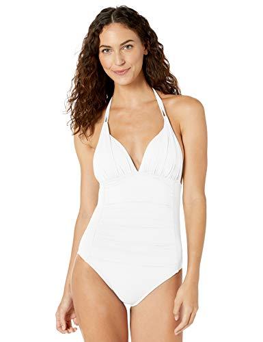 La Blanca Women's Island Goddess V-Neck Halter Mio One Piece Swimsuit, White, 2