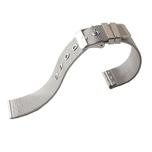 ZXF Correa Reloj, Malla de Malla Plateada Banda de Reloj de Acero Inoxidable 0,4 mm Correa de Banda de Reloj 18 mm 20 mm 22 mm Classic Pin Hebilla Class Relojes Accesorios