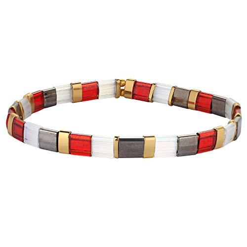 C·QUAN CHI Femme Bracelet Perle De Tila Handmde Bracelets Amitiés Manchette Bracelet Élastique pour Fille
