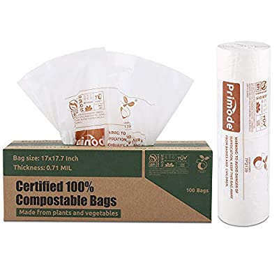 Primode 100% Compostable Bags, 3 Gallon Food Scraps Yard Waste Bags, 100 Count, Extra Thick 0.71 Mil. ASTMD6400 Compost Bags Small Kitchen Trash Bags, Certified by BPI and TUV